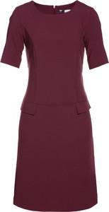 Fioletowa sukienka bonprix bpc selection z krótkim rękawem trapezowa z okrągłym dekoltem