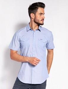 Niebieska koszula Lee Cooper z krótkim rękawem w stylu casual