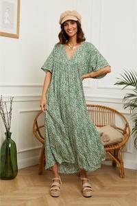Sukienka L'armoire De Suzette z krótkim rękawem maxi z dekoltem w kształcie litery v