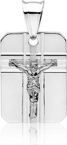 Valerio Srebrny wisiorek blaszka krzyżk krzyż z wizerunkiem Jezusa Chrystusa srebro 925 GMD019