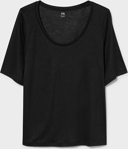 Czarny t-shirt YESSICA w stylu casual z krótkim rękawem z okrągłym dekoltem