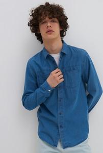 Niebieska koszula House z klasycznym kołnierzykiem z długim rękawem