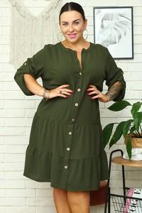 Zielona sukienka KARKO z kołnierzykiem z długim rękawem w stylu casual