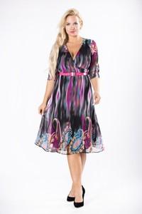Sukienka Moda Dla Ciebie z dekoltem w kształcie litery v midi kopertowa