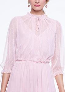 Różowa sukienka L'AF z tkaniny z długim rękawem