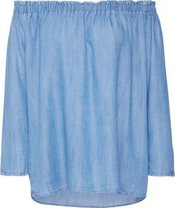 Niebieska bluzka edc by Esprit z jeansu z długim rękawem