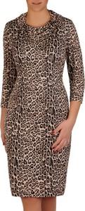 Sukienka POLSKA z długim rękawem midi dopasowana
