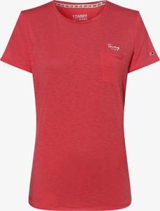 Czerwony t-shirt Tommy Jeans w stylu casual z bawełny z krótkim rękawem