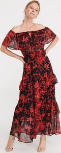 Sukienka Reserved maxi hiszpanka z krótkim rękawem