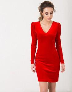Czerwona sukienka Flawdress z długim rękawem