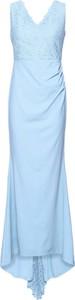Niebieska sukienka bonprix BODYFLIRT boutique z dekoltem w kształcie litery v bez rękawów maxi