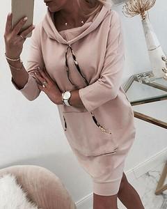 Różowa sukienka Kendallme mini z długim rękawem w stylu casual