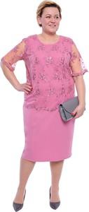 Sukienka modneduzerozmiary.pl z krótkim rękawem z okrągłym dekoltem
