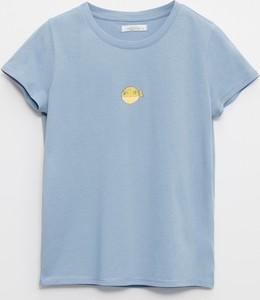 Niebieski t-shirt Reserved z okrągłym dekoltem z bawełny