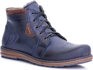 a907e1733a1a0 botki skórzane. Granatowe buty zimowe BUTOSKLEP.PL sznurowane ze skóry