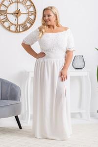Sukienka KARKO z tkaniny maxi z krótkim rękawem