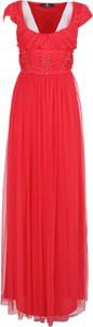 Czerwona sukienka Elisabetta Franchi z krótkim rękawem maxi