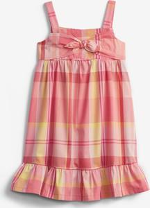 Różowa sukienka dziewczęca Gap w krateczkę z bawełny