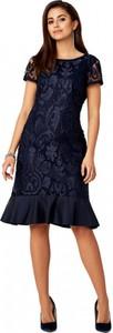 Sukienka POTIS & VERSO z okrągłym dekoltem trapezowa z krótkim rękawem