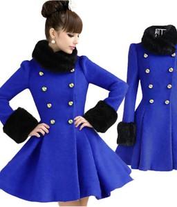 Styl asyk damski zimowy rozkloszowany płaszcz chabrowy