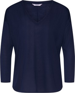 Niebieska bluzka Tommy Hilfiger z okrągłym dekoltem z tkaniny w stylu casual