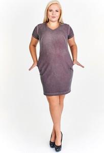 Fioletowa sukienka Fokus kopertowa w młodzieżowym stylu mini