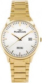ZEGAREK MĘSKI RUBICON RNDD60 - stalowy Złoty