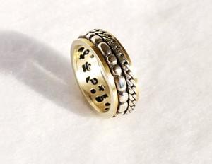 Astorga Niesamowita artystyczna obrączka ze srebra, zdobiona złotem