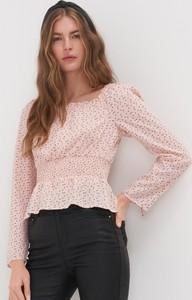 Różowa bluzka Sinsay z długim rękawem z okrągłym dekoltem