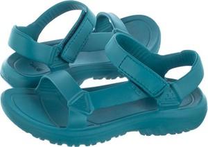 Niebieskie sandały Teva na rzepy z płaską podeszwą