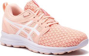 Różowe buty sportowe ASICS na koturnie ze skóry ekologicznej sznurowane