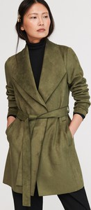 Zielony płaszcz Reserved w stylu casual z zamszu