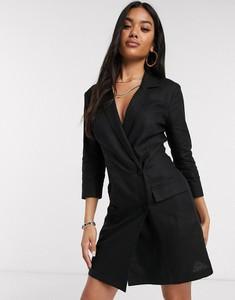Czarna sukienka Asos z długim rękawem z lnu mini
