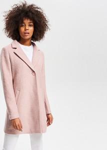 Różowy płaszcz Reserved z wełny w stylu casual