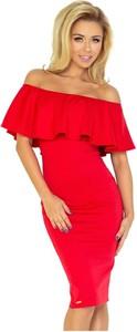 Czerwona sukienka NUMOCO z krótkim rękawem z odkrytymi ramionami