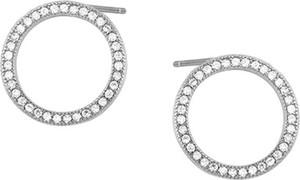 6733e3e8604195 Valerio Delikatne rodowane srebrne kolczyki kółka kółeczka z cyrkoniami  srebro 925 Z1461E