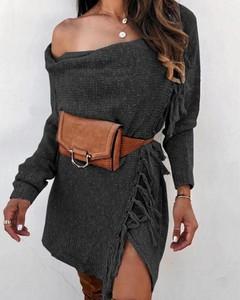 Czarny sweter Kendallme w stylu boho