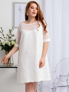 Sukienka KARKO z tkaniny wyszczuplająca z okrągłym dekoltem