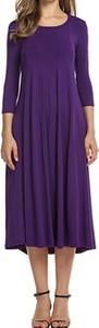Fioletowa sukienka Cikelly z długim rękawem midi z okrągłym dekoltem