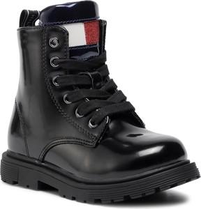 Czarne buty dziecięce zimowe Tommy Hilfiger sznurowane