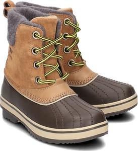 1d95873777e08 Brązowe buty dziecięce zimowe Sorel w stylu casual z płaską podeszwą ze  skóry