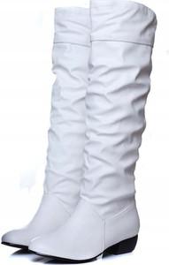 Kozaki Yaze przed kolano w stylu casual ze skóry
