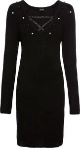 Czarna sukienka bonprix BODYFLIRT dopasowana z dekoltem w kształcie litery v z długim rękawem