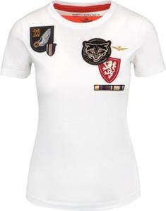 T-shirt Aeronautica Militare w młodzieżowym stylu z okrągłym dekoltem