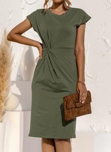 Zielona sukienka Sandbella z okrągłym dekoltem z krótkim rękawem midi