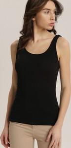 Czarny top Renee w stylu casual z okrągłym dekoltem
