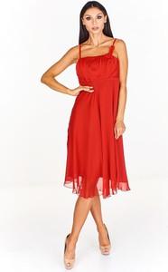Sukienka Fokus rozkloszowana z szyfonu midi