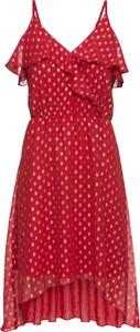 Czerwona sukienka bonprix BODYFLIRT mini z dekoltem w kształcie litery v