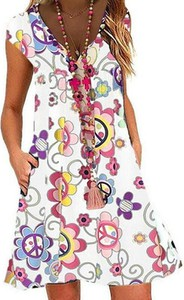 Sukienka Sandbella w stylu boho z krótkim rękawem