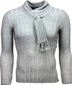 Sweter Justing w stylu casual z okrągłym dekoltem